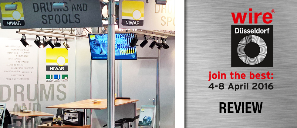 NIWAR attended the wire® 2016 in Düsseldorf, the trade fair for the wire and cable sector, and was present with its own stand